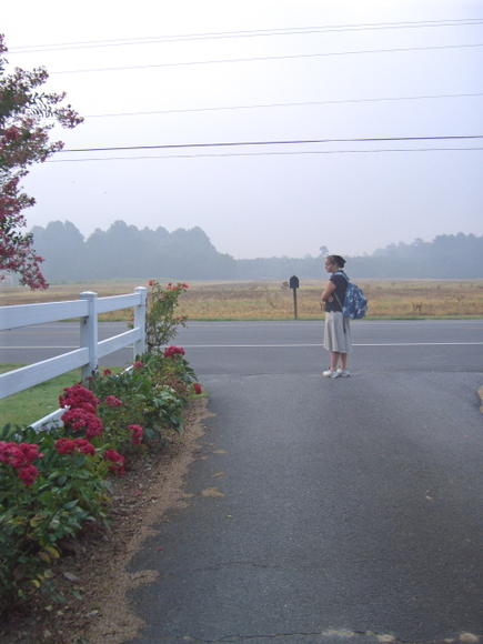 First day of School, 2006 waiting for the bus